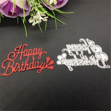 Stencil Scrapbooking Cutting-Dies Letters Wish Happy-Birthday Card-Paper Embossing-Craft