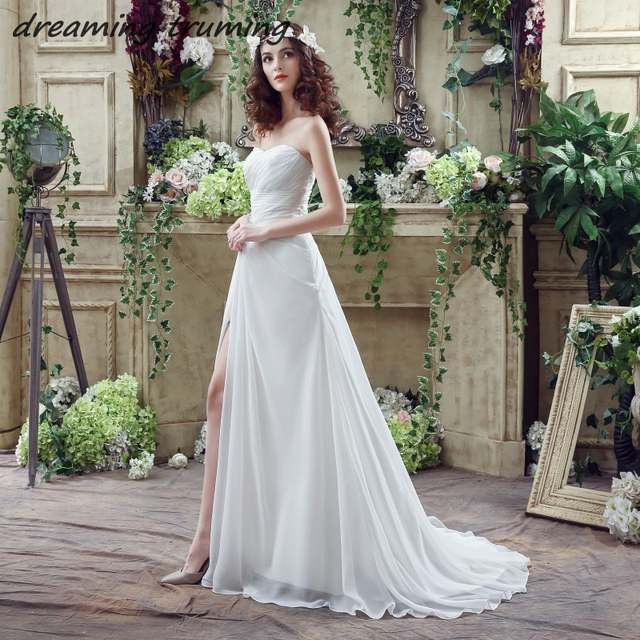 ff98475c2cdf placeholder vestidos de novia Simple Boho Wedding Dress Pleated Crystal  Front Slit Court Train Lace Up Back