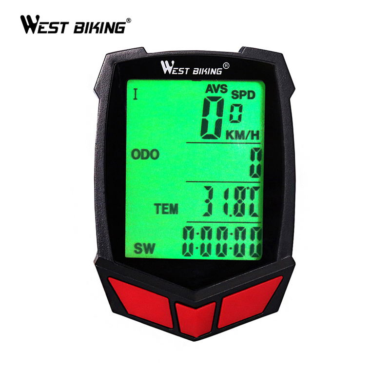 WEST BIKING Bike Computer Waterproof 20 Functions Speedometer Odometer Cycling Luminous LED Wired/ Wireless MTB Bike Stopwatch