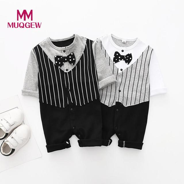 25069213cd MUQGEW Toddler Baby Rompers Autumn Infant Kid Boys Jumpsuit Long Sleeve  Striped Printed Necktie Romper Outfits