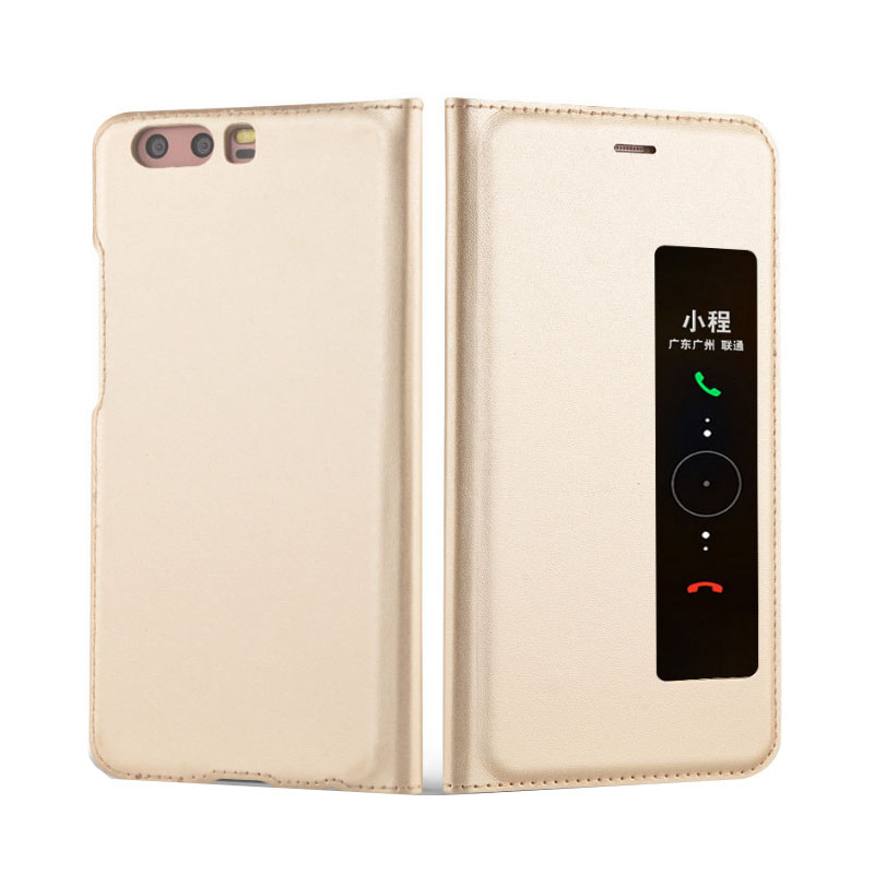New Flip Cover Leather Case For Huawei P10 Plus P10plus <font><b>Phone</b></font> Case Smart View Cover Slim <font><b>Gold</b></font> For Huawei P10 Plus 5.5 inch