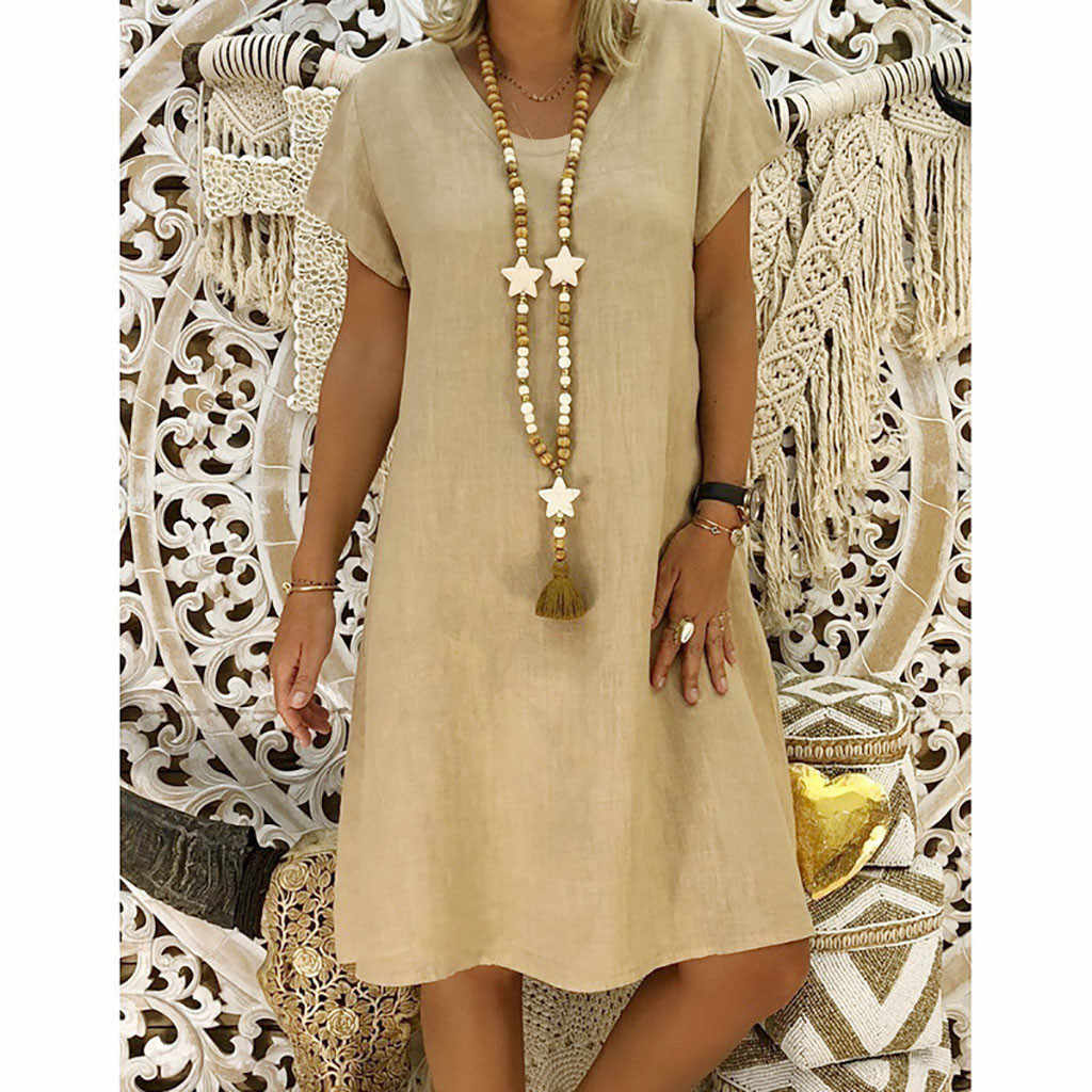9386381f9f Womail Sexy Leisure Party Dress Women Summer tyle Feminino Vestido T-shirt  Cotton Casual Plus