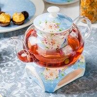 600ml Heat Resistant Glass Ceramic Bone China Tea Pot with Filter Gongfu Tea Set Black Tea Flower Teapot with Warm Stove Furnace