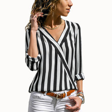 купить Women Striped Blouse Shirt Long Sleeve Blouse V-neck Shirts Casual Tops Blouse et Chemisier Femme Blusas Mujer de Moda 2019 онлайн