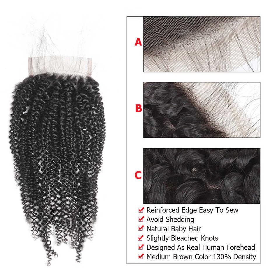 Alimice перуанские афро кудрявые вьющиеся волосы 3 пучка с закрытием 4B 4C remy волосы натуральные волосы для наращивания пучки с закрытием 8-26 дюймов