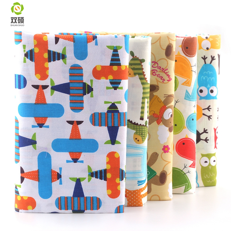 Shuangshuo 100 Cotton Fabric Cartoon Series Fat Quarter Bundle Quilting Patchwork Sewing Clothes 5 pieces lot 40X50cm in Fabric from Home Garden
