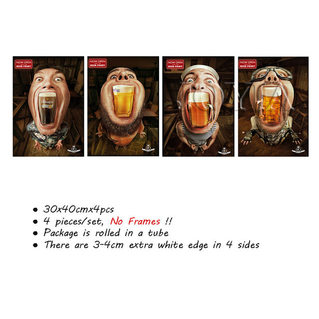 Online Shop Abstract Figure Beer Paintings 4 Piece Retro Creative ...