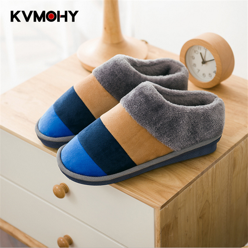Men's Slippers Autumn Winter Home Indoor Non-Slip Plush Thickening Thermal Shoes Men New Warm Winter Slippers Male Flip Flops mulinsen new 2017 autumn winter men