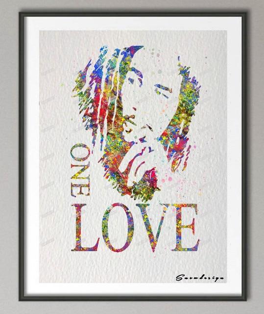 diy original watercolor bob marley one love canvas painting wall art