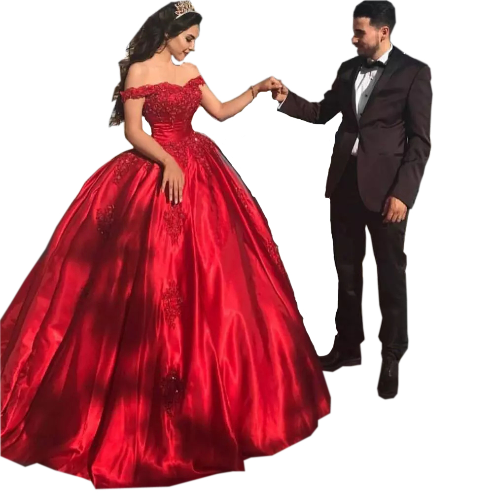 Corset Ball Gown Quinceanera Dresses Off Shoulder Red
