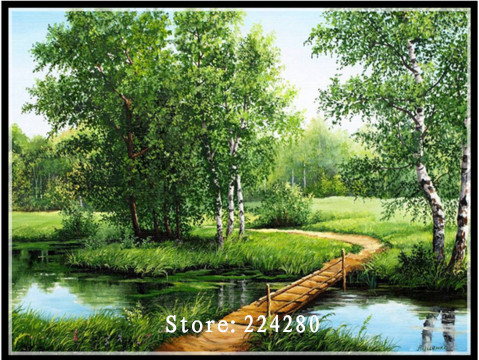Needlework,DIY 14CT Unprinted Cross Stitch Embroidery The Lanes In Forest Arts Counted White Canvas Cross-Stitching Embroidery
