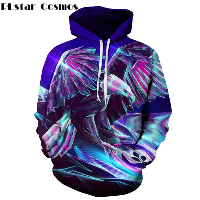 PLstar Cosmos Unisex Hoodies Men/Women Fly Eagle Print 3D Sweatshirt Hoody Pullover Tracksuits Men Causal Streetwear Hoodie