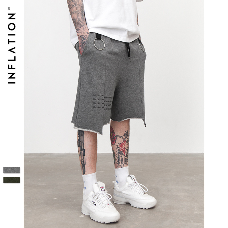 INFLATION Irregular Cut Shorts With Rings Shorts Casual Cargo Streetwear Hip Hop Harem Shorts Men's Fashion Street Shorts 8424S
