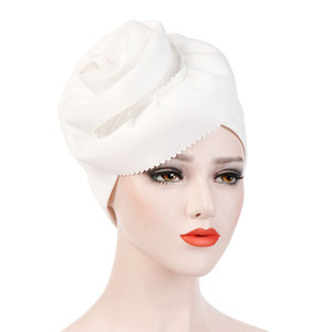 Image 4 - ผู้หญิงมุสลิมดอกไม้หมวกTurban Chemo BeaniesหมวกHijabห่อหัวผมอุปกรณ์เสริม
