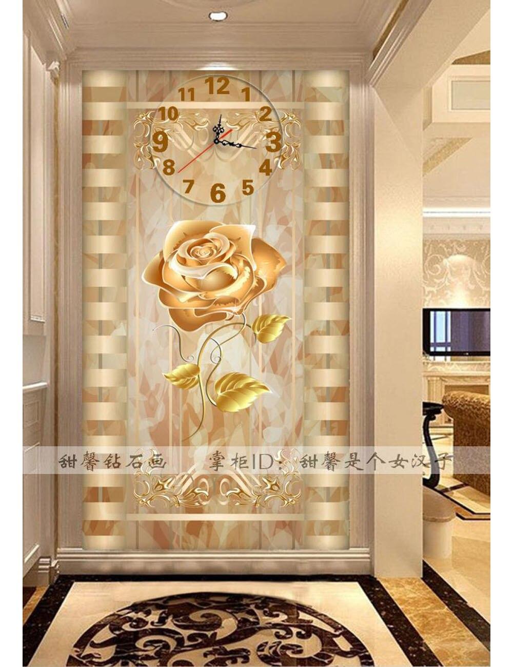 53 9 Décoration De Couloir De Salon Broderie De Diamant Moderne Fleur De Roses Mosaïque De Diamant Carré 5d Horloge Murale De Peinture De