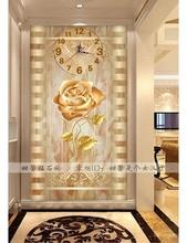 Living Room Corridor Decor Diamond Embroidery, Modern, Roses Flower, 5D Square Diamond Mosaic, Diamond Painting Wall Clock
