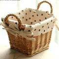 Pastoral cestas de flores de ratán paja cestas cestas de almacenamiento de bambú cesta de la flor