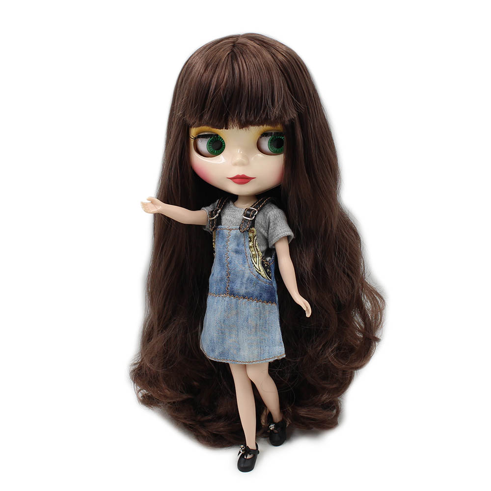 Charitable Blyth 30cm Nude Doll Brown Long Wavy Hair With Bangs Normal Body Natural Skin 1/6 Toy Gift Suitable For Diy No.280bl0222 High Quality And Low Overhead Toys & Hobbies Dolls