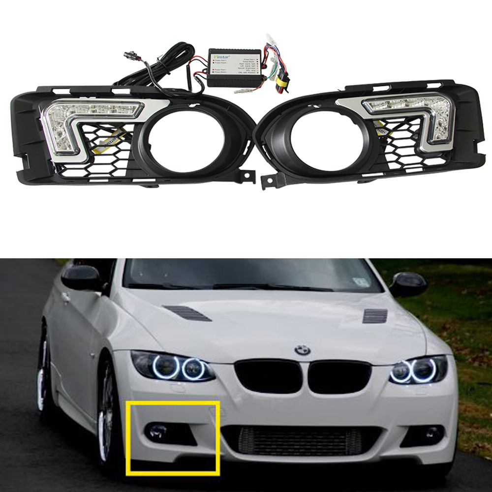 2 Pcs 6-LEDs 12V 12W White Euro Driving Fog Lamp DRL Daytime Running Lights For BMW E92 E93 ( 2007-2010) M Tech xenon white 12w high power led daytime running lights kit for bmw f10 m tech 6 leds driving light drl fog lamp with relay