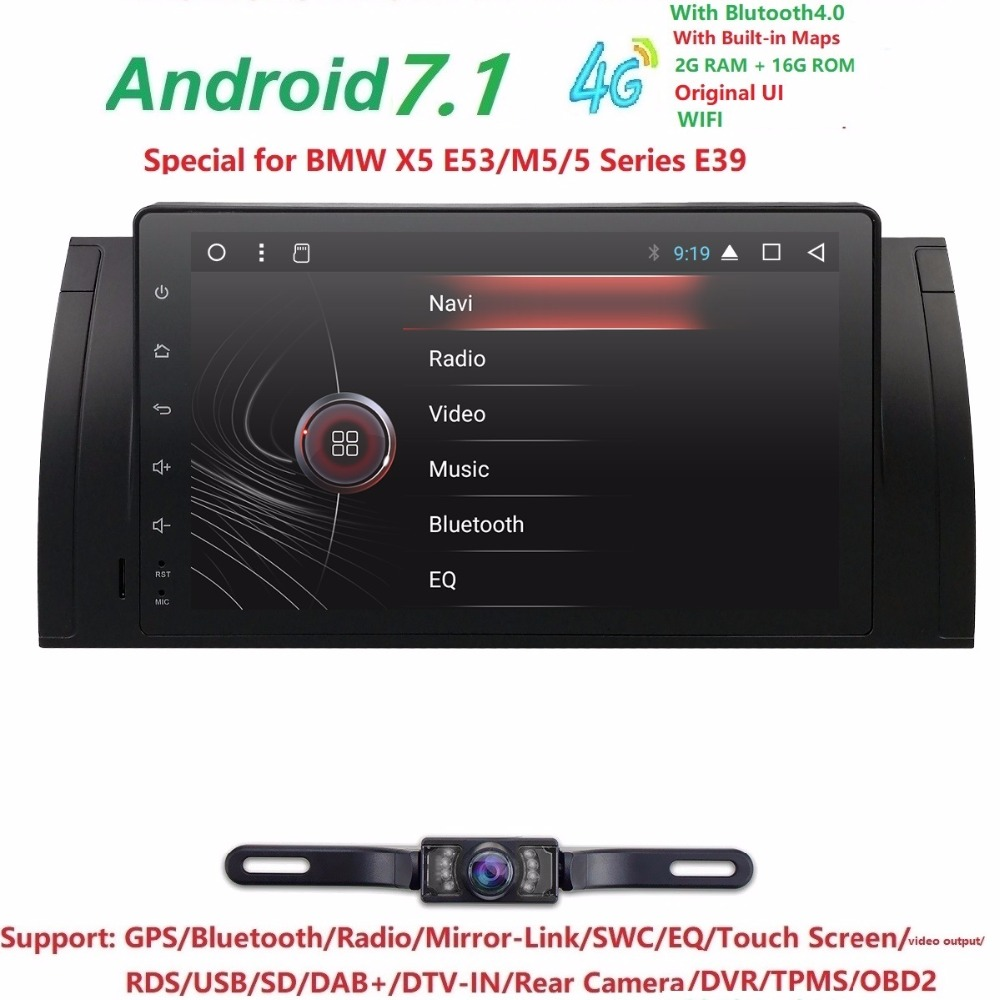 Super 9Screen Android7.1 Car Radio for BMW E39 E53 X5 with Mirror Link No DVD iNAND 16G auto multimedia Stereo Navi DAB OBD CAM