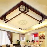 Стиль деревянный светодиодный квадратный потолочный светильник гостиная лампа твердой древесины овчины лампы Книга номер потолочные свет