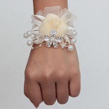 New Arrival Diamonds Pearls Wrist Corsage Bridesmaid Bracelet Bridal Wristband Silk Bracelets Bridemaids Accessoirs Prom Flowers