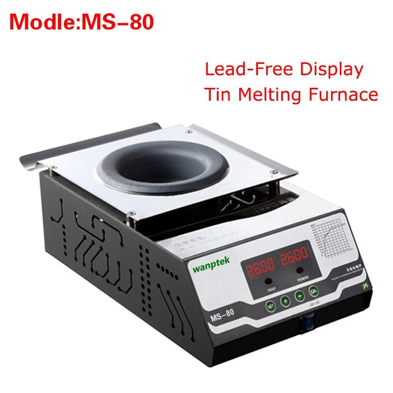 High quality MS-80 Display Lead-Free Tin Melting Furnace,Energy saving melting furnace Melting Tin Quantity 1.5KG molten tin furnace welding melting furnace machine welder zb1510b dissolve tin dip solder stove for pcb soldering pot
