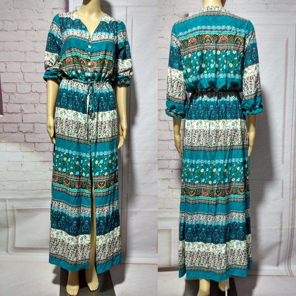 2017 Bohemia Split Dress Folk Flower Print Gypsy Ethnic Peasant ...