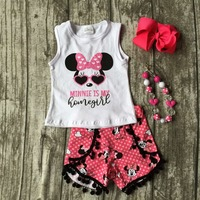 Baby Girls Minnie Shorts Set Children Minnie Is My Home Girl Clothing Children Summer Minnie Outfits