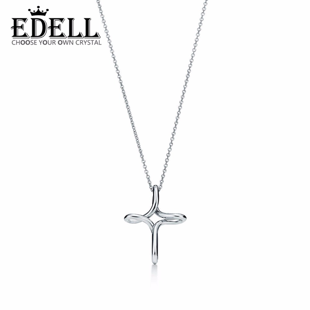 EDELL Cross necklacePendant 100% 925 Sterling Silver Pendant Nature Fashion Jewelry Package Mail