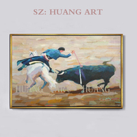 Spanish Sports Bull Top Artist Team Supply High Quality Modern Abstract Bull Fighting Oil Painting On Canvas Top Quality