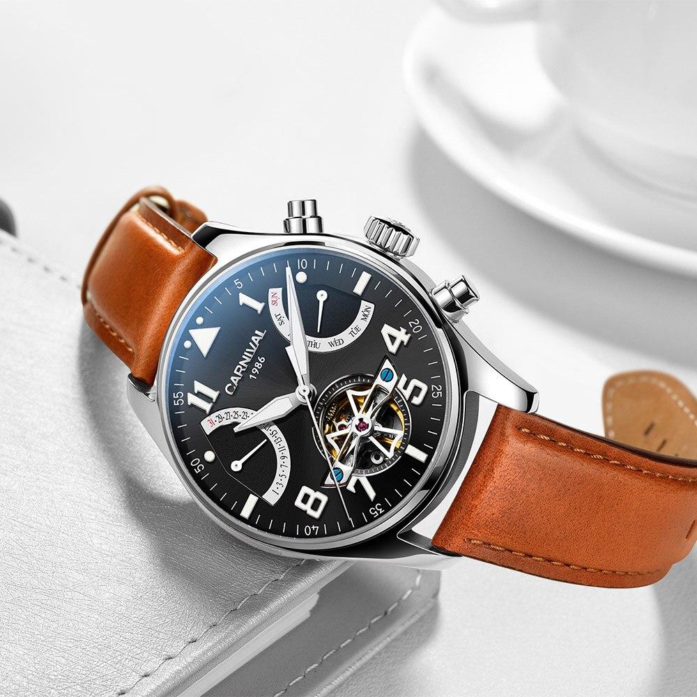 Světelné potápěčské hodiny karneval kostra Tourbillon mechanické hodinky automatické pánské kožené mechanické náramkové hodinky Reloj 2017