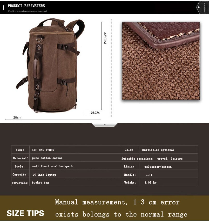 Men's Multi-Functional Backpack Vintage Shoulder Bag High Quality Canvas Male Bagpack Rucksack Travel Luggage for Weekend 26