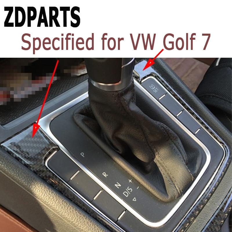ZDPARTS 1PCS Carbon Fiber Gears Shift Panel Trim Stickers for Volkswagen VW Golf 7 GTI R GTE GTD MK7 2013 2014 2015 2016 2017