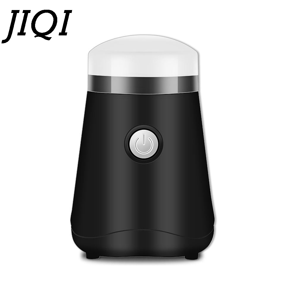 JIQI Electric Coffee Bean Grinder Stainless steel Mini Beans Grinding Machine Grain Mill Herbs Nuts Pulverizer powder crusher EU цена и фото