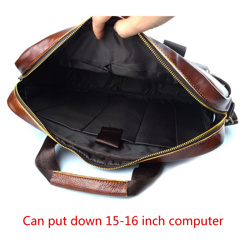 AETOO sac à main en cuir véritable pochette d'ordinateur en cuir de vachette pour hommes sac à bandoulière pour hommes mallette en cuir marron de voyage - 4