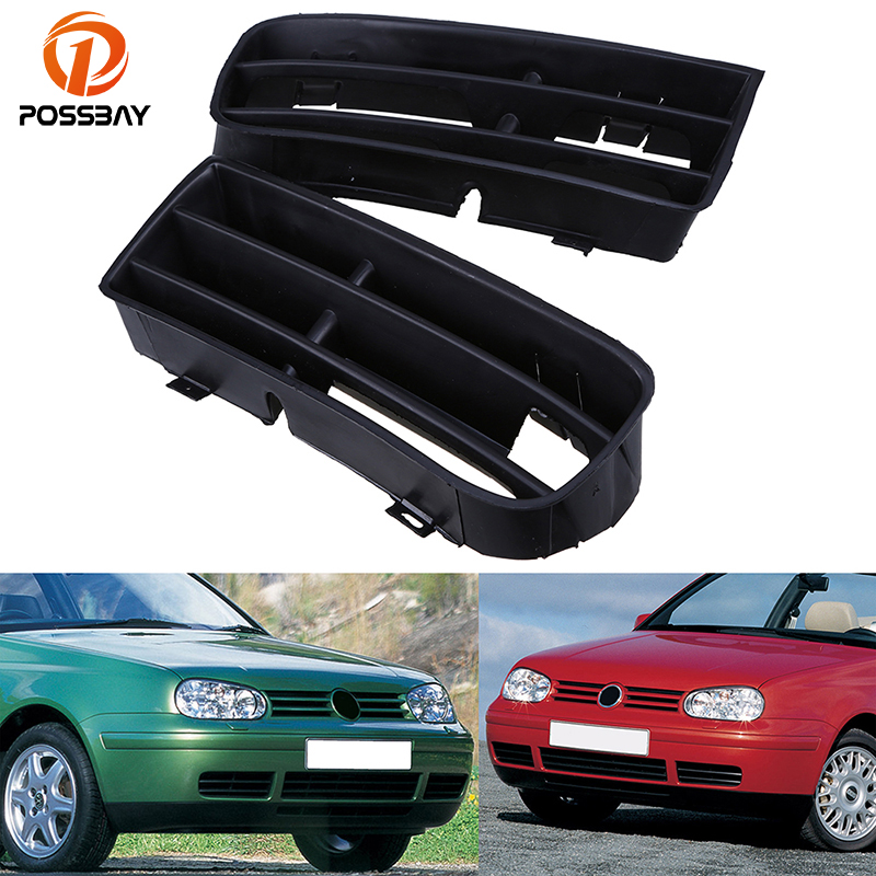 POSSBAY Fog Lamp Grille Front Lower Side Bumper Fog Light Grille for VW Golf/Variant/4 Motion 1998-2006 Car Mesh Grills Styling front lower left right bumper fog light grille cover fog light lamp kit set for honda accord 4door 1998 2002