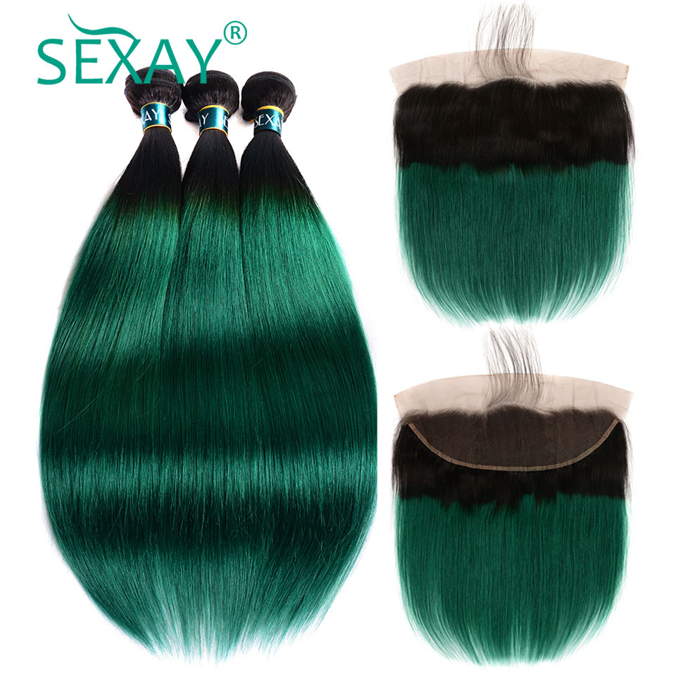 Green Ombre Bundles With Closure SEXAY Ombre Human Hair Straight With 13x4 Ear to Ear Lace