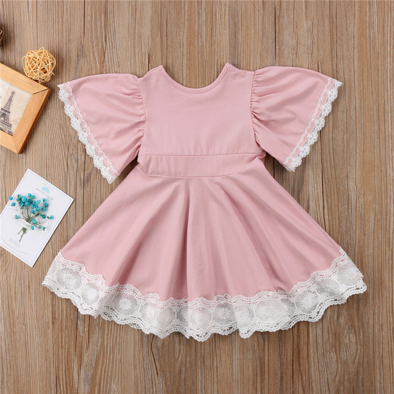 O-Neck Solid Lace Childrens Clothing Dress Flower Girls Dress Princess Summer Kids Dresses For Baby Girls Clothes 1 2 3 4 5 Yrs 3
