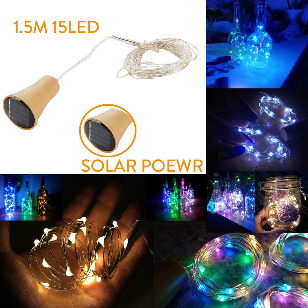 1.5M 15LED Solar Cork Wine Bottle Stopper Copper Wire String Lights Fairy Lamps Outdoor Party Wedding Decor Home Decoration