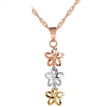 Hot Sell Gold Rose White Color 3PCS Hollow Flower Necklaces Pendants High Quality AU750 18K Real Jewelry For Women Birthday