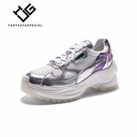 IGU/Женская обувь кроссовки 2019 Весна Серебристые Модные Натуральная кожа Высокая платформа Вулканизированная обувь для бега Уличная обувь д
