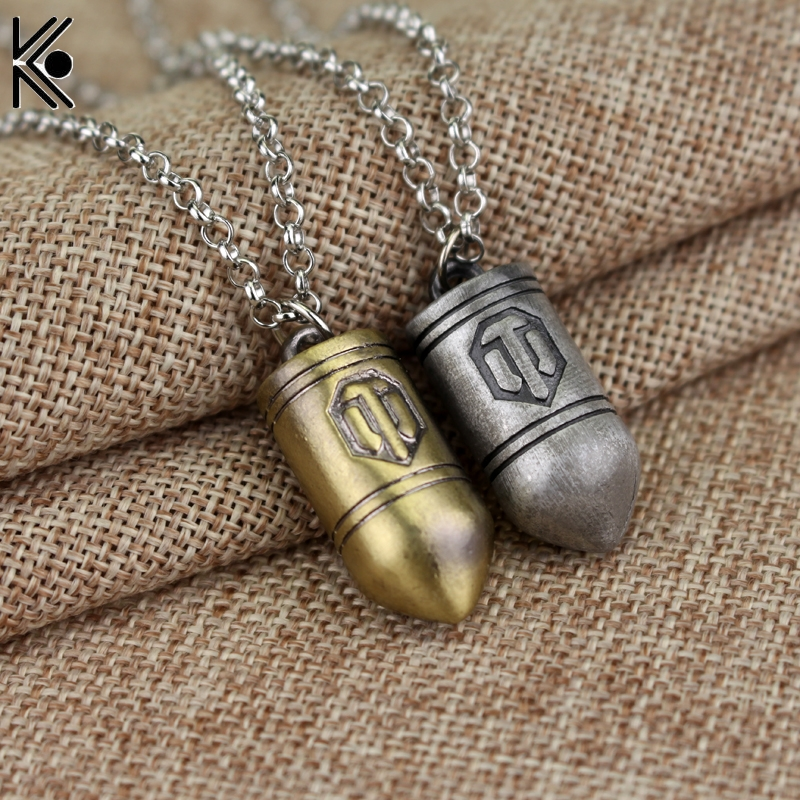 Online Game World of Tanks WOT Metal Bullet Pendent Necklace Women Men Chain Jewelry Collares Christmas Gifts Punk Types
