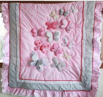 2014 new 100% cotton high quality pink animal butterfly applique ... : butterfly applique quilt - Adamdwight.com