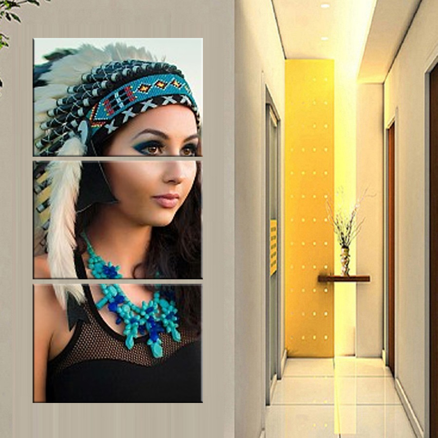 HD printed 3 piece canvas art American Indian canvas feathered Painting wall pictures for living room Hanging corridor painti