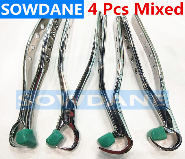 4 pcs/set New Adult dental extraction forceps Stainless steel Germany Dental Extractor with silicone protection