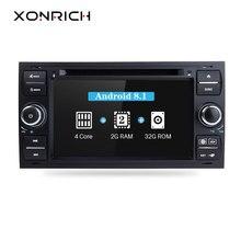 Xonrich Автомобильный мультимедийный плеер Android 8,1 gps для Ford Focus 2 Ford Fiesta Mondeo 4 C-Max S-Max Fusion Transit 2Din Авторадио 4 г