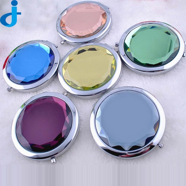 1 unid maquillaje cristal redondo doblado espejo compacto espejo de bolsillo port til maquillaje - Espejos de bolsillo ...