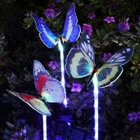 3pcs Garden Solar Lights Outdoor Multi color Changing LED Fiber Optic Butterfly Decorative Light JDH99