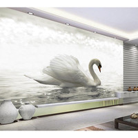 3D Custom Wallpaper For Walls Mural Home Decor White Swan Lake Non Woven Waterproof Wall Paper
